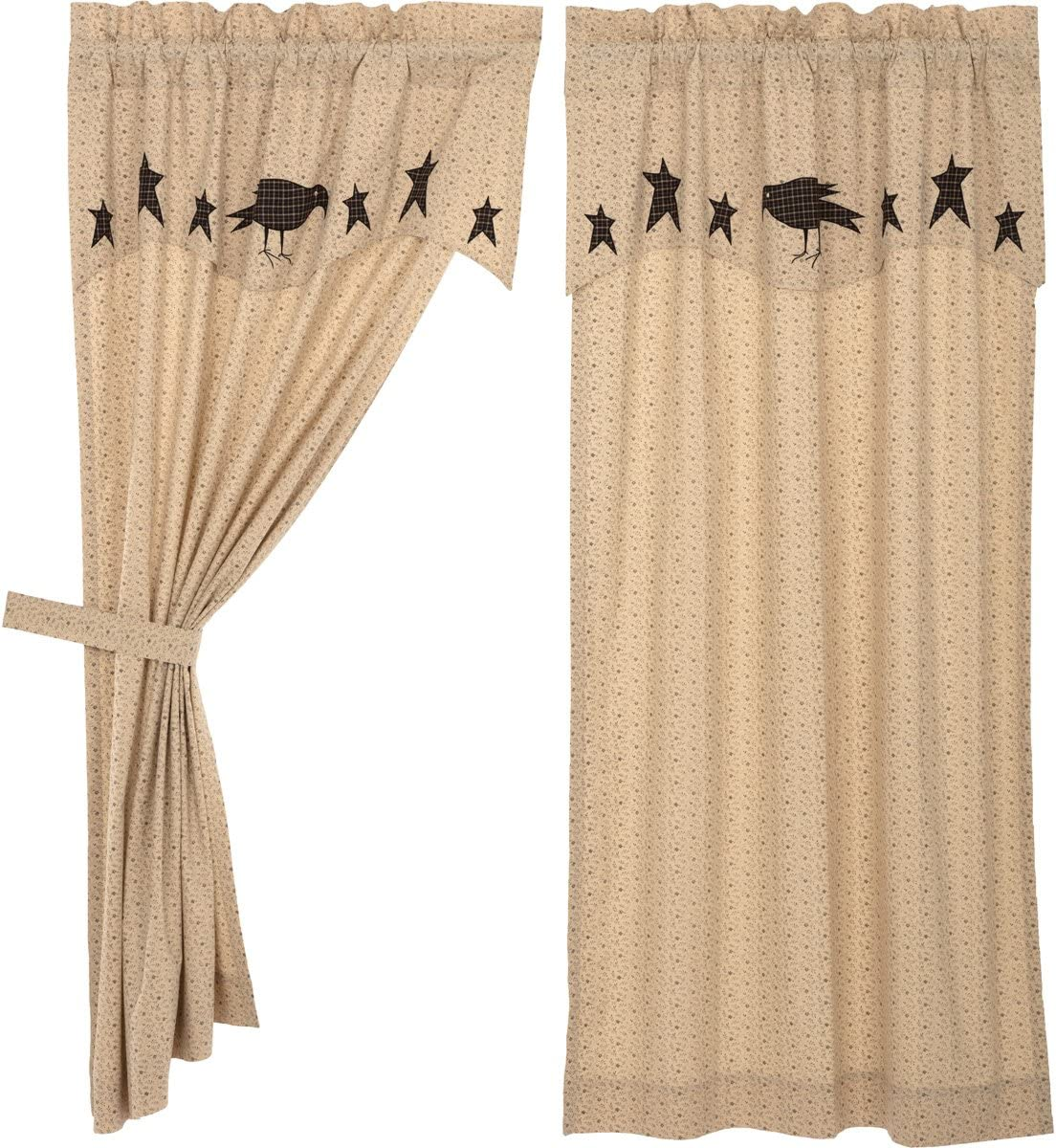 VHC Brands Kettle Grove Short Panel with Attached Applique Crow and Star Valance Set of 2 63x36 Country Curtains