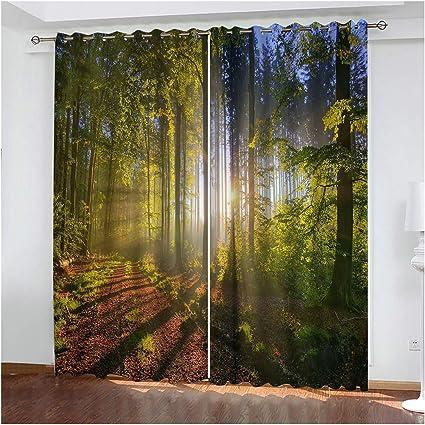 AueDsa Polyester Vorh/änge Wald Gr/ün Blackout Vorhang 98/% Vorh/änge Blickdicht 2er Set 214x115CM