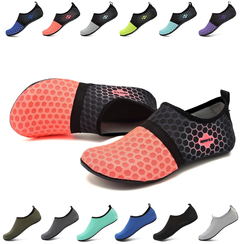 EASTSURE Snorkeling Shoes Water Sport Shoes Aqua Socks for Men Women Beach Swim Surf Yoga Orange 40-41