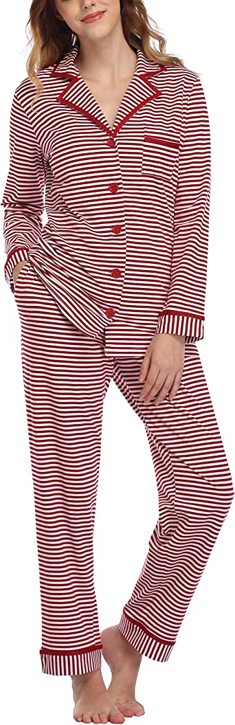 Aranmei Pijamas Mujer Invierno de Algodón Conjunto de Pijama a Rayas 2 Piezas Manga Larga Ropa de Dormir con Bolsillo