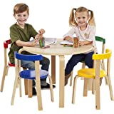 ECR4Kids Bentwood Curved Back Table and Chair Set, Premium Kids Wooden Furniture for Homes, Daycares and Classrooms…