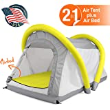 SereneLife Outdoor Inflatable Camping 2 in 1 Airbed Tent |Hiking Blow Up Air Tent Integrated Camping Air Mattress with…