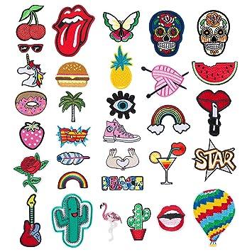 Patch Sticker - Comius 32 Pcs Apliques, Parches Ropa Termoadhesivos, Cute DIY Ropa Parches para la camiseta Jeans Ropa Bolsas (Multicolor): Amazon.es: Hogar