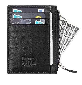 flintronic Portefeuille en Cuir, Noir Etui RFID Blocage Porte Carte de  Crédit, Zip Porte cd5ed62bfd1