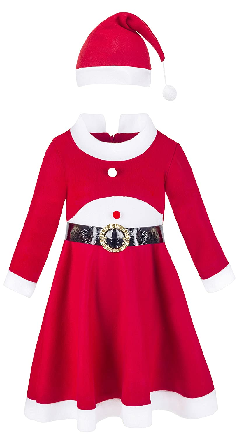 96acdd75b Perfect red fleece Christmas costume dress paired with matching Santa Claus  hat and removable black belt with gold buckle. Collared neckline, long  sleeve ...