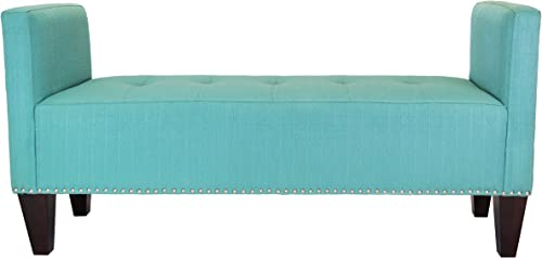 Sole Designs Nellie Entryway Upholstered Bedroom Bench with Nailhead Trim, Lagoon