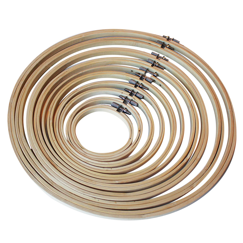 10-tlg. Bambus-Holz Stickrahmen Nähen Sticken Set von Curtzy ...
