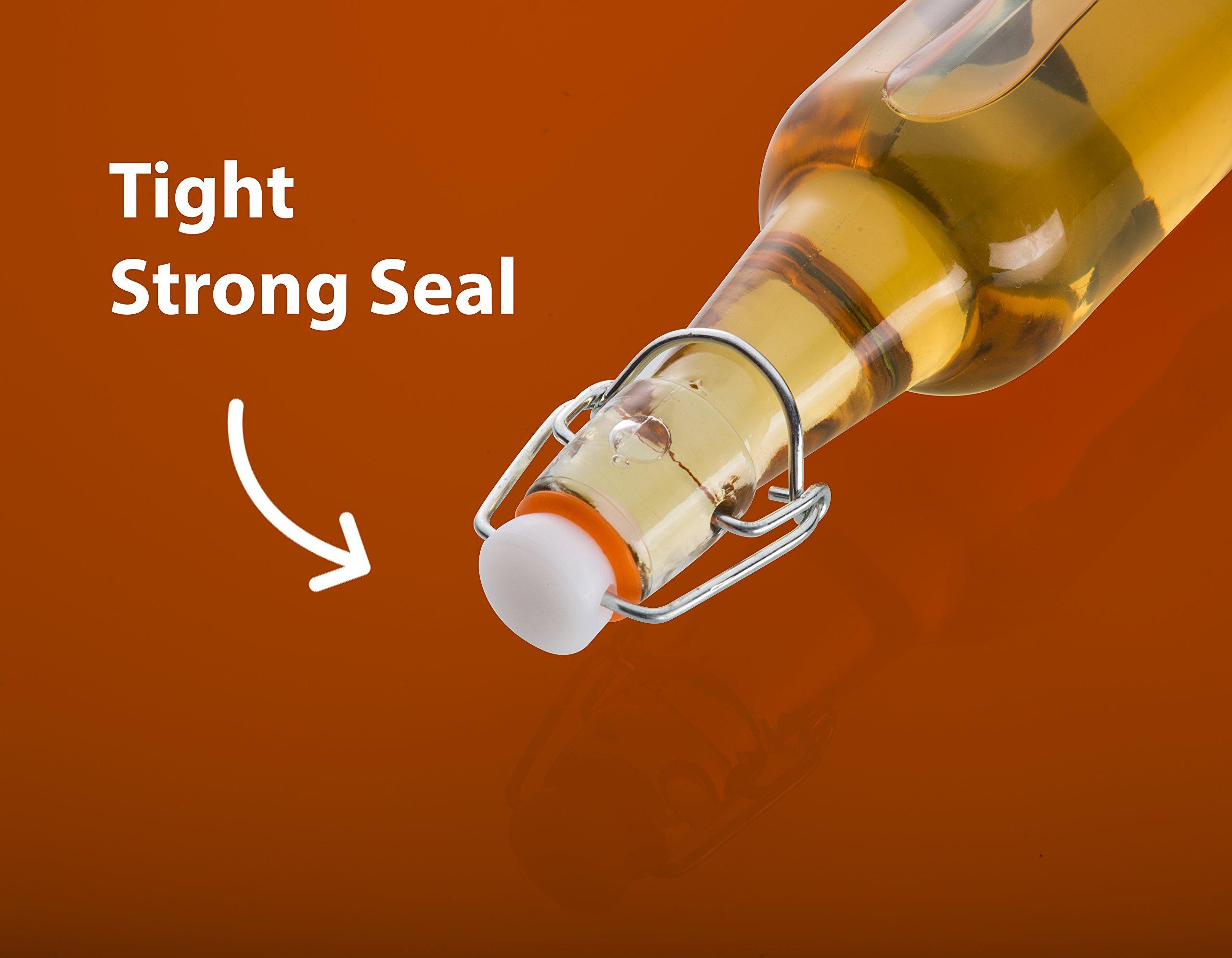 Zuzoro Glass Kombucha Bottles For Home Brewing Kombucha Kefir or Beer - 16 oz Clear Glass Grolsch Bottles case of 6 w/ Easy Swing top Cap w/ Gasket Seal Tight by Zuzuro (Image #3)