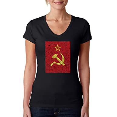Amazon com: LA POP ART Women's Word Art V-Neck T-Shirt - Soviet