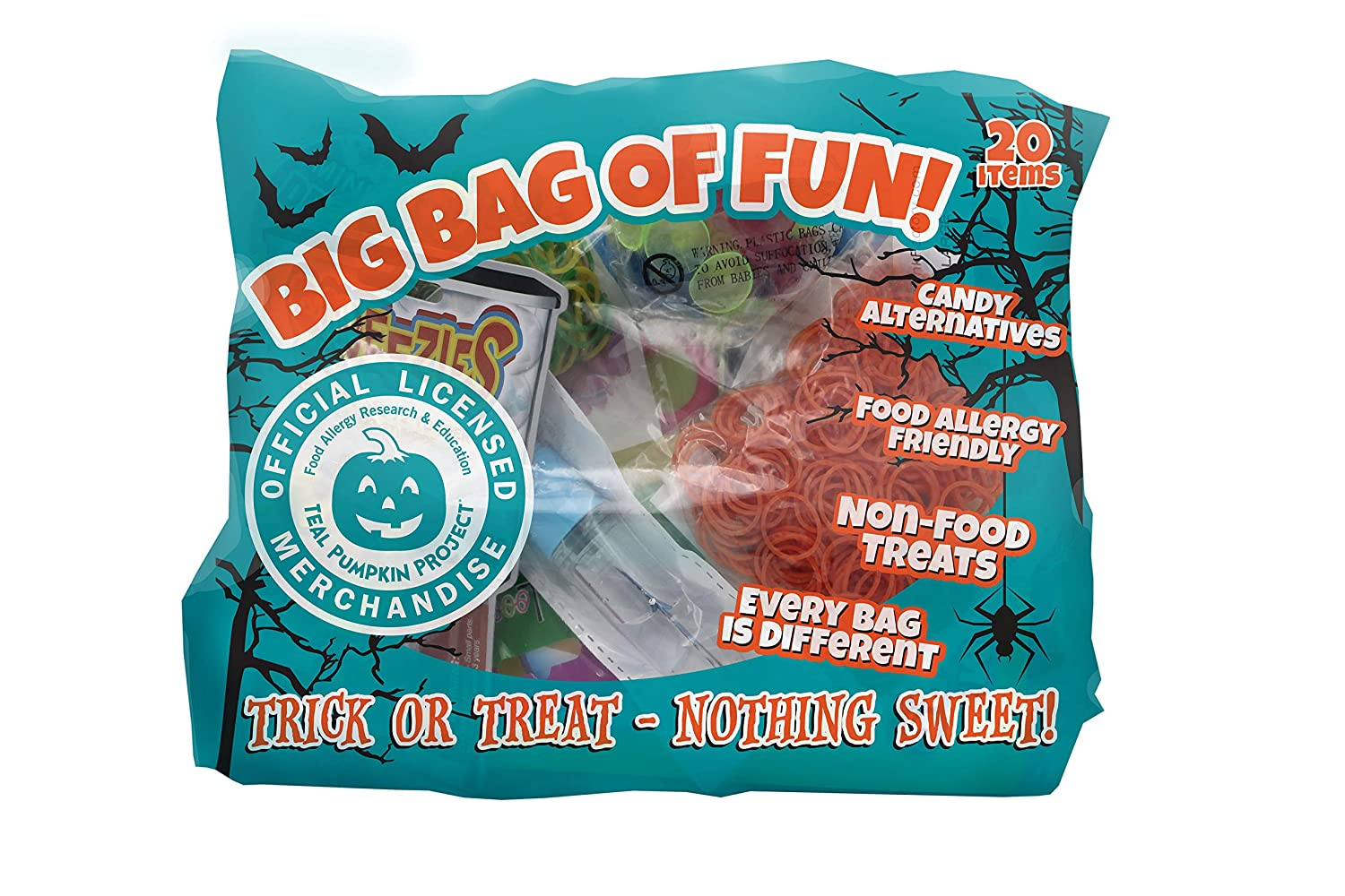 Just For Laughs Big Bag of Fun Teal Pumpkin Project Halloween Party Favors 20 items