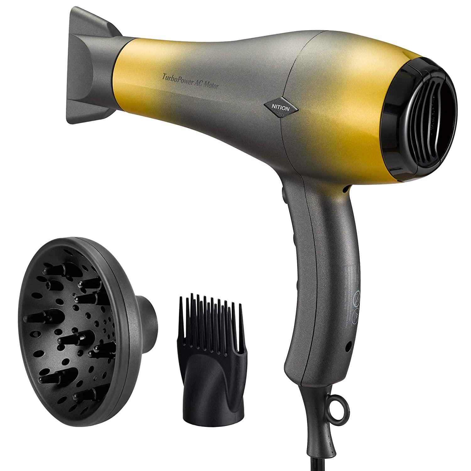 NITION Durable AC Motor Ceramic Salon Hair Dryer with Diffuser,Comb & Nozzle Attachments,1875 Watt Negative Ions Ionic Blow Dryer for Quick Drying,3 Heat & 2 Speed Settings,Cool Shot Butt,Mixture Gold