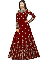 Siddeshwary Fab Women's Navy Blue Taffeta Silk Embroidered Gown for Women ( G_04 Blue   Red Priya Gown )