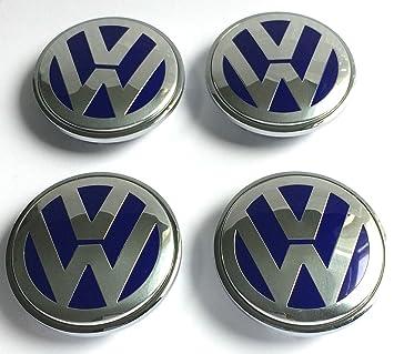 X4 alta calidad Volkswagen 70 mm aleación rueda insignia emblema de plata cromo logotipo azul centro ...