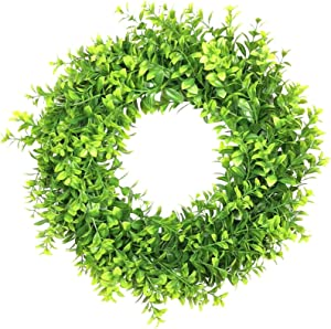 "lifeeluck 18"" Artificial Green Leaves Wreath Large Front Door Wreath Greenery Window Boxwood Wreath Faux Garland for Outside Wall Hanging Wedding Home Decoration Indoor Thanksgiving Day Wall Decor"