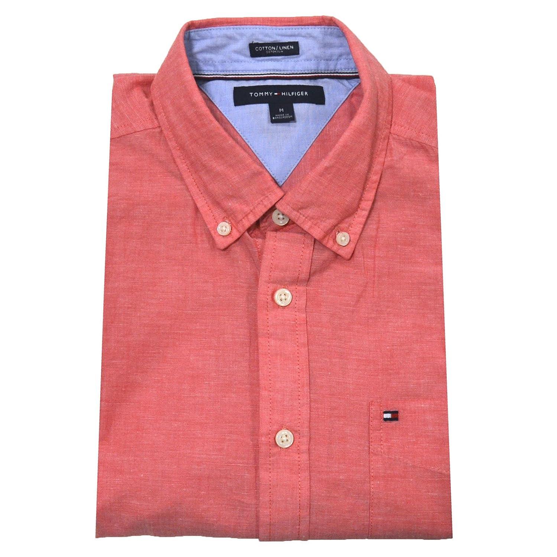 9a5123bbac96 Tommy Hilfiger Mens Cotton Linen Buttondown Shirt at Amazon Men s Clothing  store