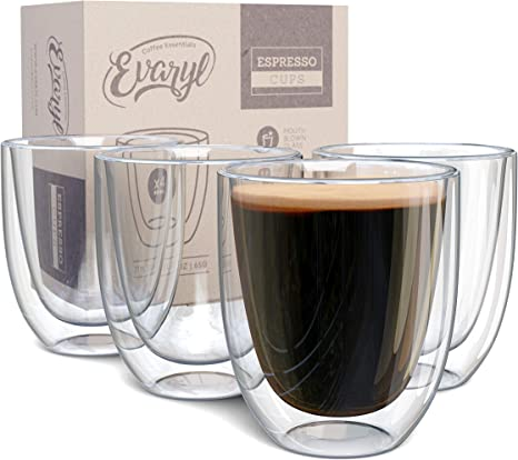 Set of 4 Double Wall Insulated Glass Espresso Coffee Mugs 2.7 Oz