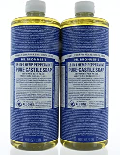 product image for Pack 2 Dr. Bronner's Organic Soaps Pure-Castile Soap, 18-in-1 Hemp Peppermint, 1.18L Each Bottle