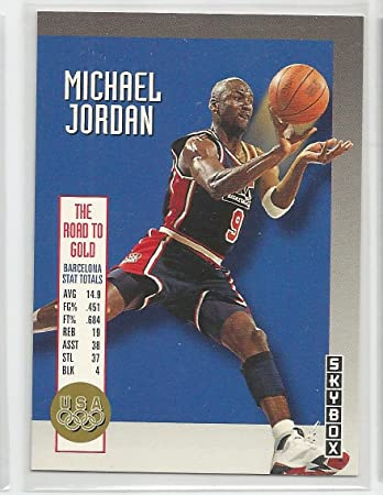4b39047f4ce Image Unavailable. Image not available for. Color: 1992-93 Skybox  Basketball Michael Jordan Olympic Team Insert Card ...