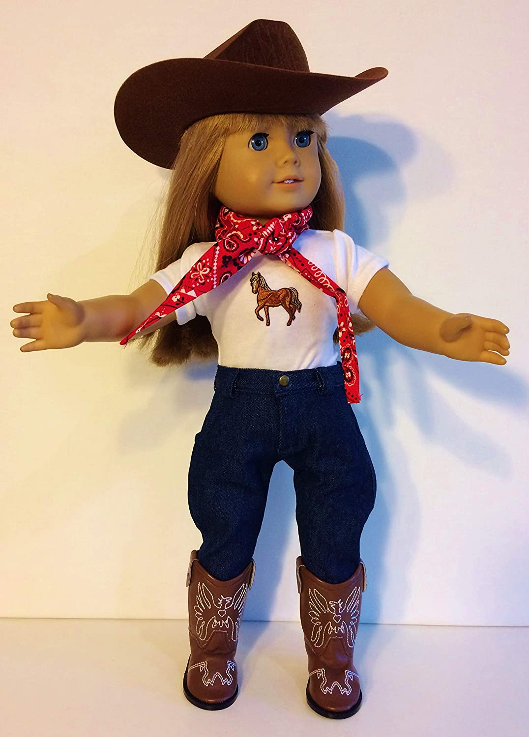 "WHITE Western COWBOY DOLL HAT fits 18/"" AMERICAN GIRL Doll Clothes Accessory"