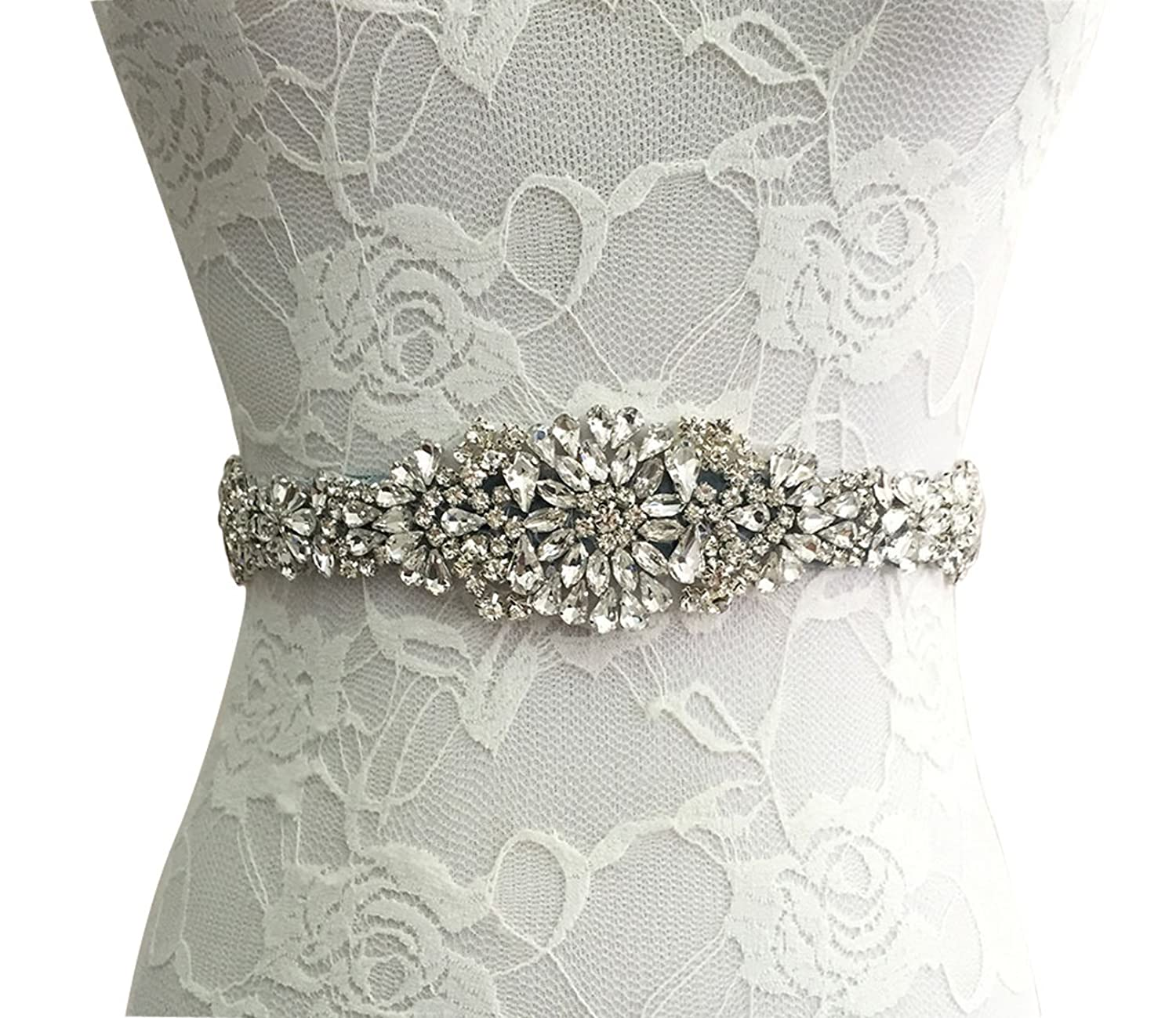 E-Clover Bridal Crystal Rhinestone Wedding Dress Sash Belt With Ribbon