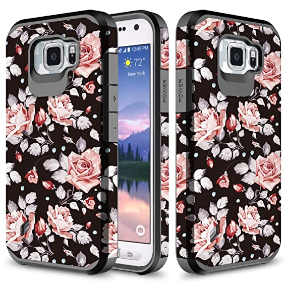 pretty nice 00550 d6289 Galaxy S6 Active Case, TownShop Hard Impact Dual Layer Shockproof Bumper  Case for Samsung Galaxy S6 Active G890 - Pink Rose