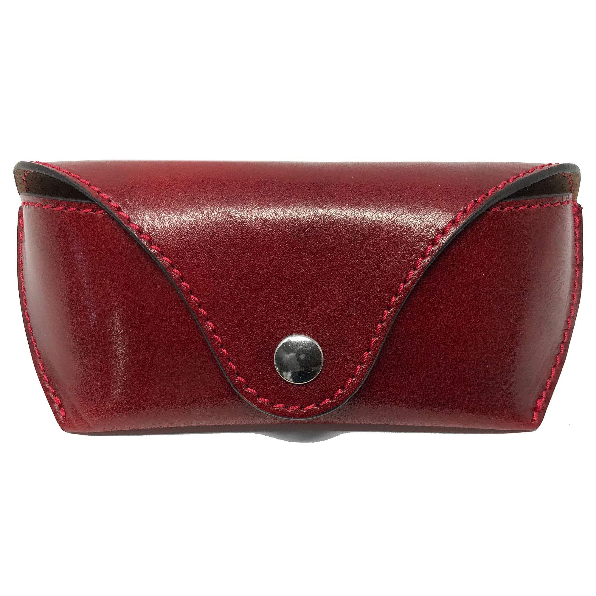 Floto Luxury Italian Leather Eyeglass Case Small Sunglasses Case Handmade (Tuscan Red)