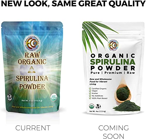 Earth Circle Organics Organic Spirulina Powder, Kosher, Raw and Non-Irradiated Pure Vegan Protein Premium Superfood, High in Amino Acids and Antioxidants
