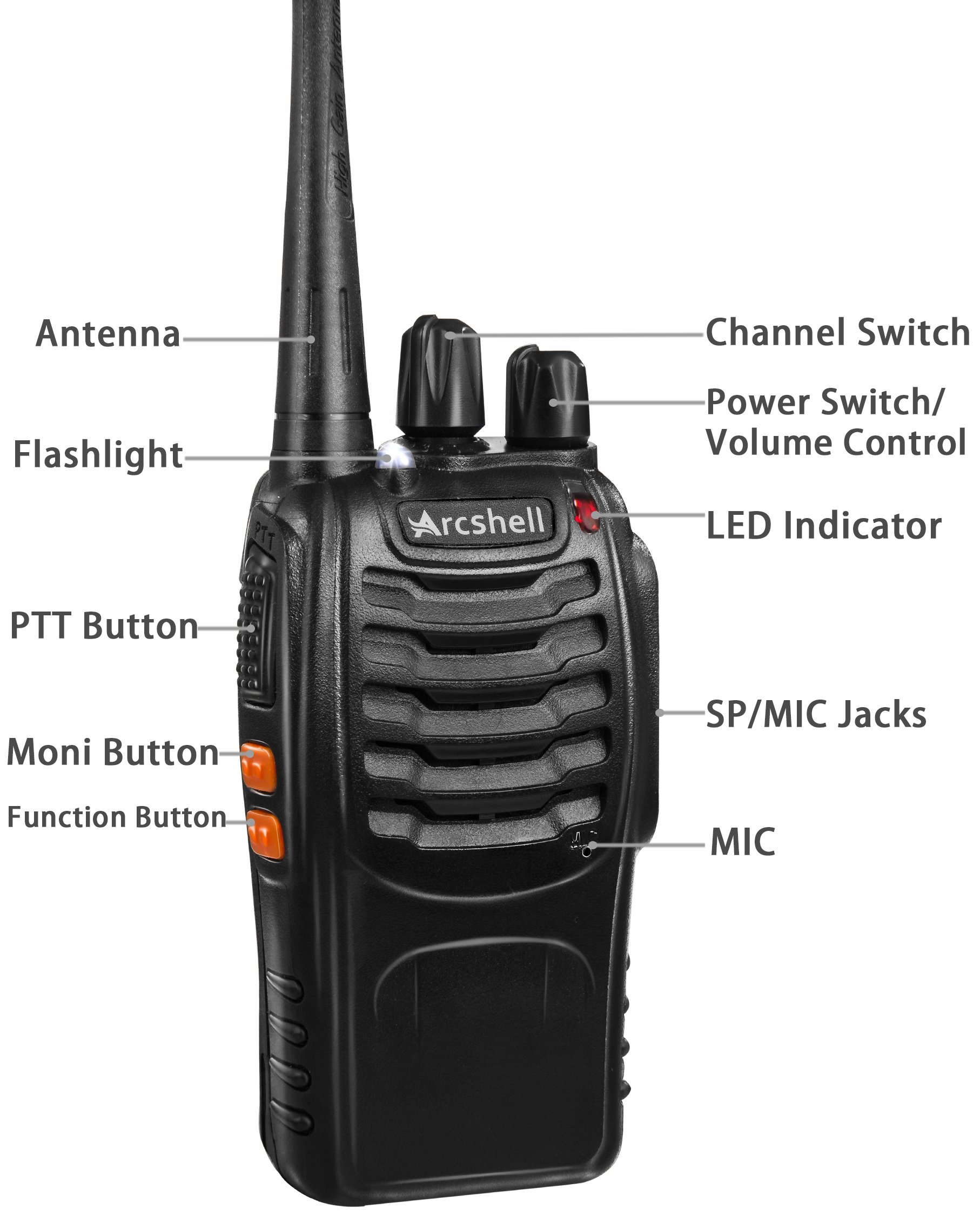 Arcshell Rechargeable Long Range Two-way Radios with Earpiece 2 Pack UHF 400-470Mhz Walkie Talkies Li-ion Battery and Charger included by Arcshell (Image #3)