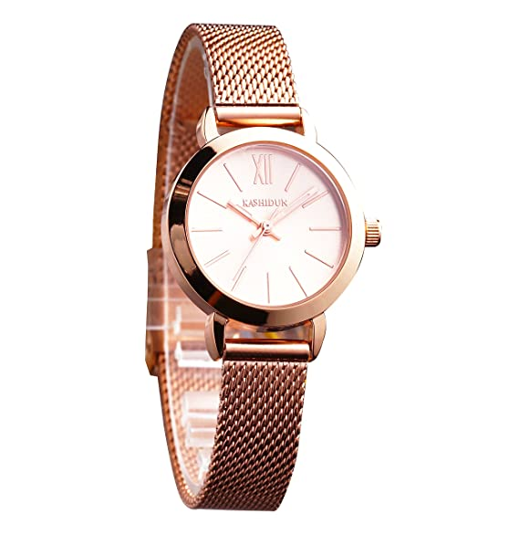 5f63b2cf758 Amazon.com  Men s Watches Luxury Simple Sports Casual Quartz Analog  Waterproof Wrist Watch Milanese and Genuine Leather Strap Black Color (D- Rose)  Watches