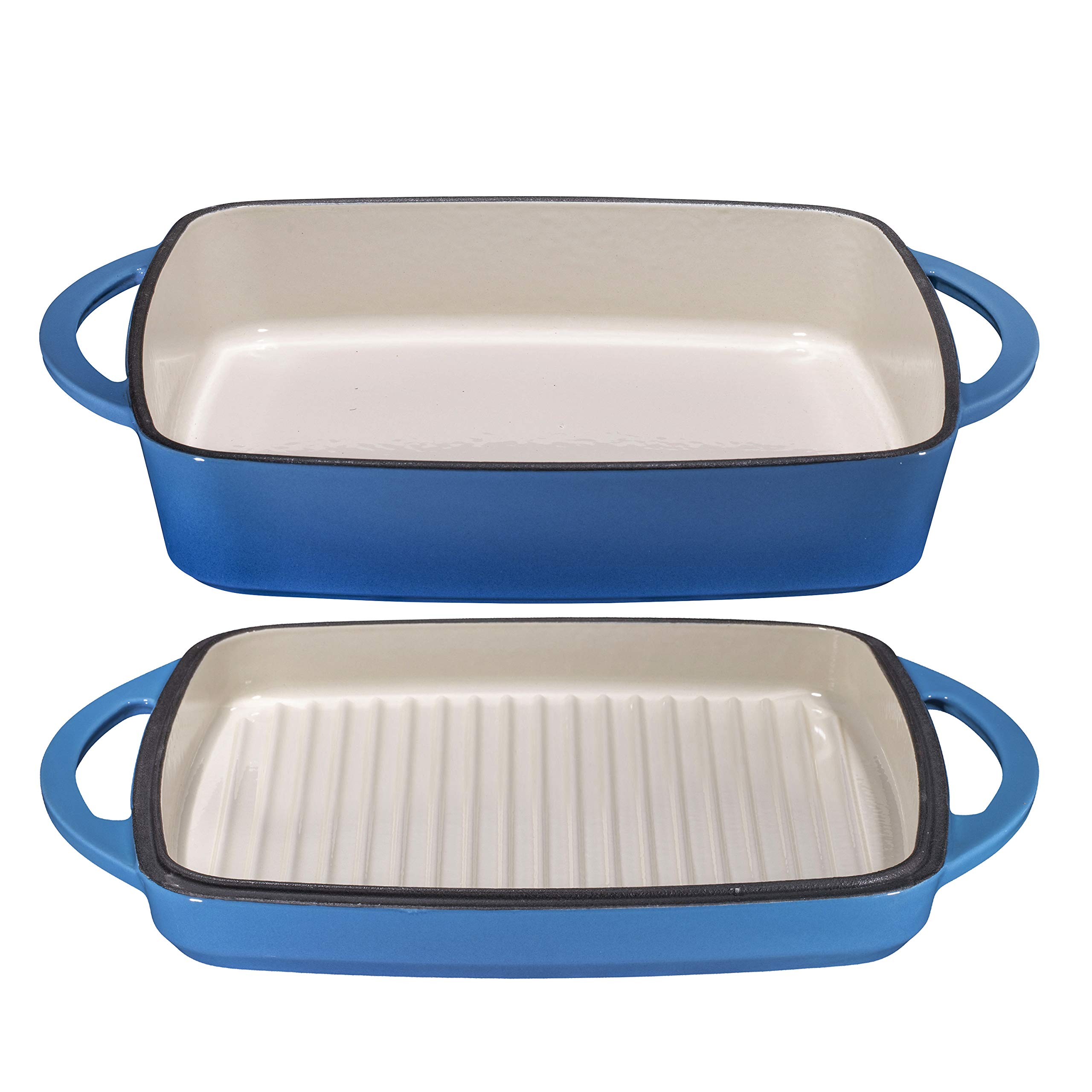 2 in 1 Enameled Cast Iron Square Casserole Baking Pan With Griddle Lid 2 in 1 Multi Baker Dish 11'' - Blue Whale by Bruntmor (Image #5)