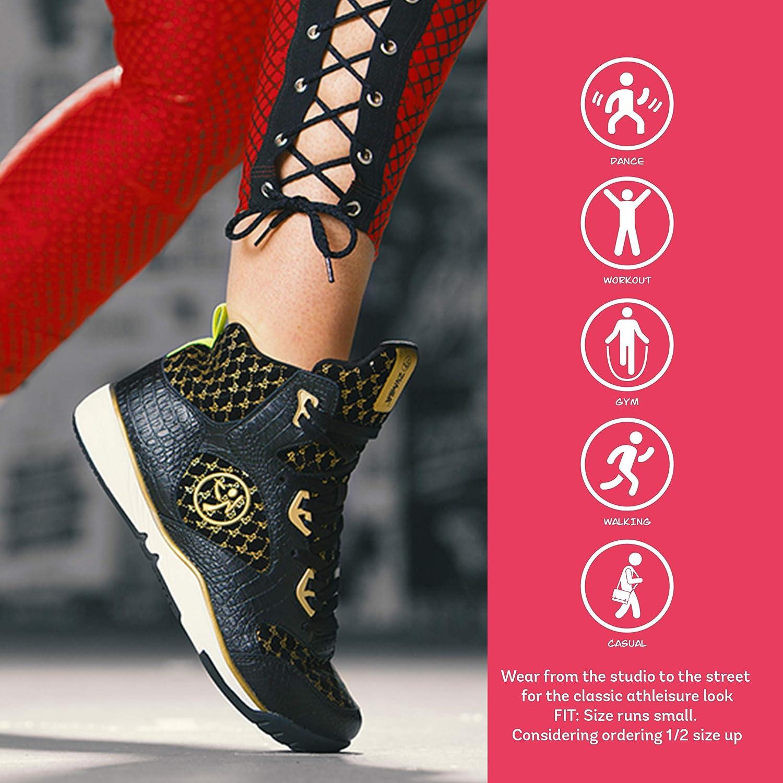 Zumba Aktiv Energy Boom High Top Sneakers Tanztraining Workout Tanzschuhe Damen Black Gold