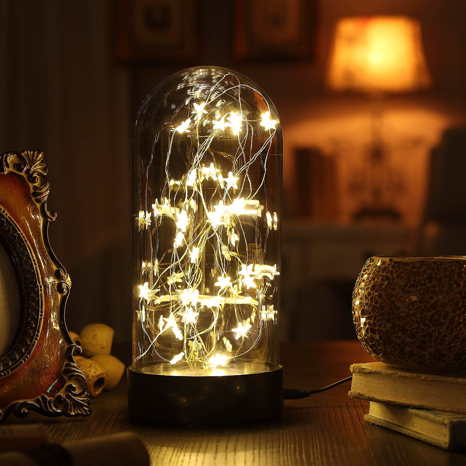 Decorative Fairy Night Light, XY Decor 11'' Dual Power Operated Table/Desk Lamp with Warm White Star String Lights Inside for Home Decor and Holiday Decoration.