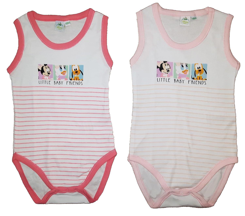 2 body neonato/a spalla larga cotone DISNEY topolino/paperino/pluto art. WD101058 (24 mesi, rosa)