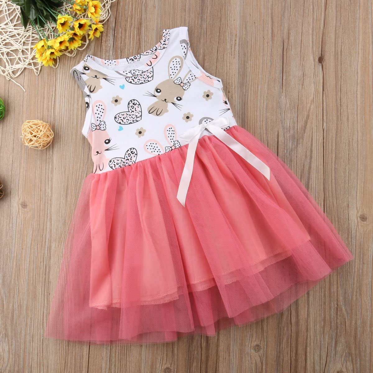 Muasaaluxi Infant Kid Baby Girls Easter Outfit Bunny Dress Sleeveless Princess Tutu Dress Sundress Summer Clothes 6M-3Y