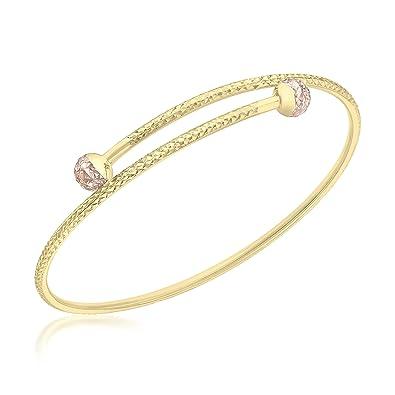 Carissima Gold 9 ct 2 Colour Gold Twist Bangle oV7XE3WZ6e