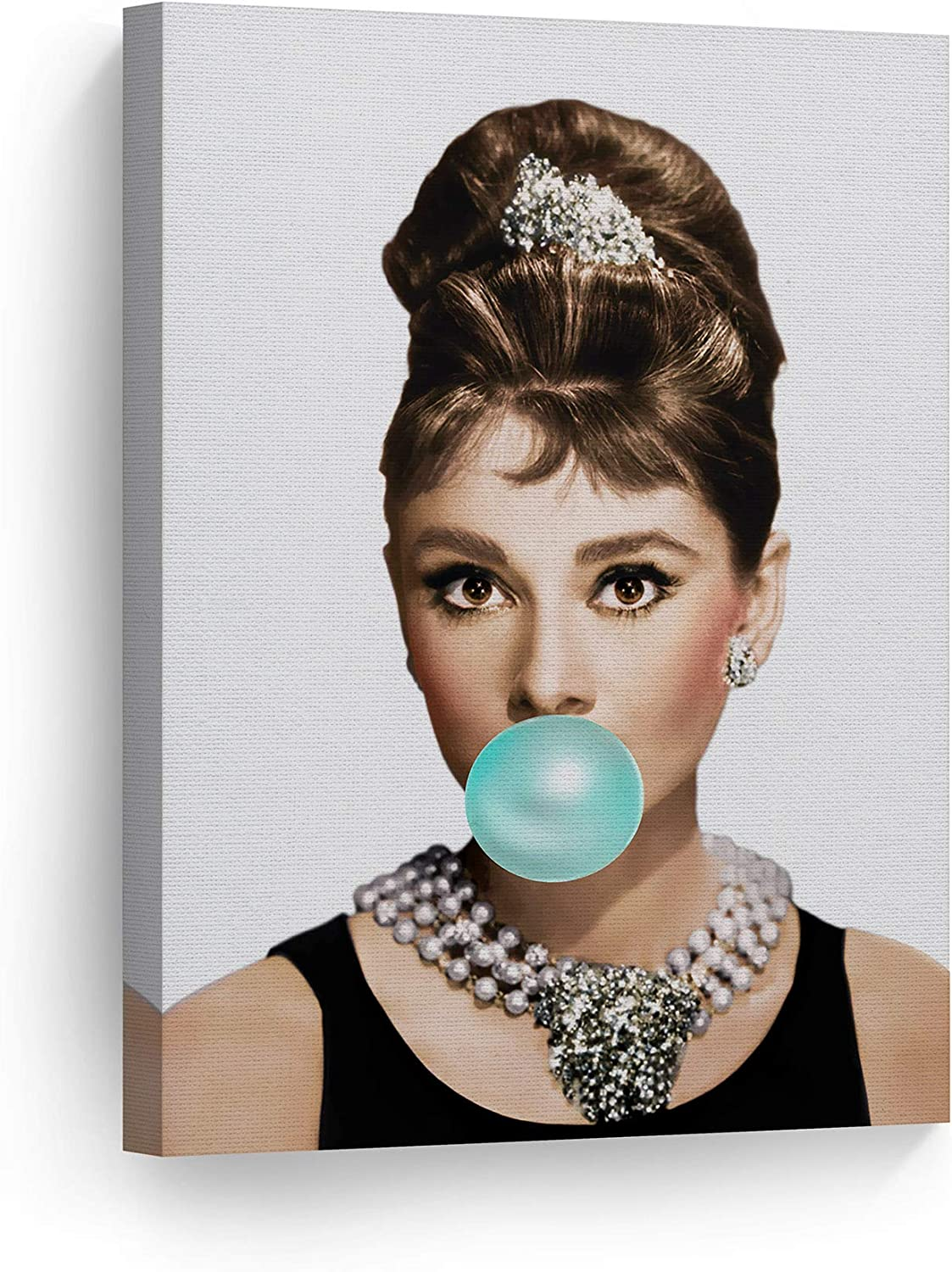 Smile Art Design Audrey Hepburn Bubble Gum Canvas Print Teal Blue Pop Art Home Decor/Iconic Wall Art/Gallery Wrapped Canvas Art Stretched/Ready to Hang (12 x 8)