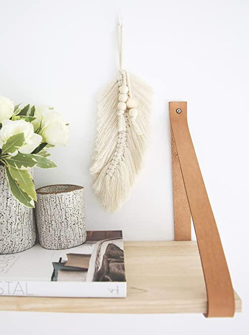 Lillee Macrame Wall Hanging Feather Leaf Boho Decor Modern Macrame Wall Art 9 X 5 5 Macrame Cord Wall Art Feather 100 Cotton And Wooden Beads Furniture Decor