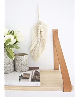 """Lillee Macrame Wall Hanging Feather Leaf - Boho Decor Modern Macrame Wall Art   9"""" x 5.5"""" Macrame Cord Wall Art Feather 100% Cotton and Wooden Beads"""