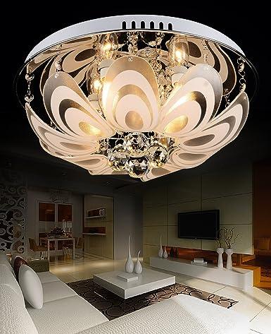 Salón moderno y elegante lámpara de techo de cristal redonda ...