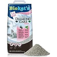 Biokat's Diamond Care Fresh Fin Kattsand med Aktivt Kol och Aloe Vera, 1 x 10 L, Grå