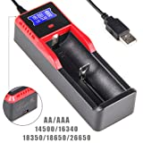 Universal Intelligent Battery Charger,18650 Charger,H1 LCD Display Speedy Smart Charger For Rechargeable Batteries Ni-MH Ni-Cd AA / AAA C And Li-ion LiFePO4 IMR 10440 14500 16340 17335 18490 18650 RCR123 CR123A 26650 (UK,EU Plug,Car charger)(Battery No Included) (UltraFire H1)