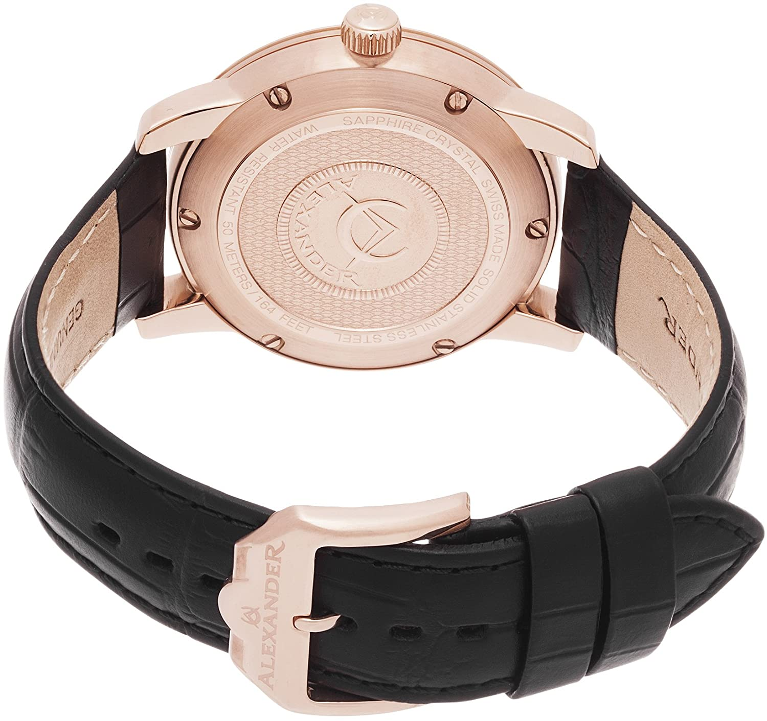 Alexander Heroic Macedon Mens Rose Gold Watch Leather Band – 40mm Analog Black Face with Second Hand Date and Sapphire Crystal – Classic Swiss Made Quartz Dress Watches for Men Gold Tone A111-05