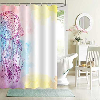 MitoVilla Hand Drawn Ethnic Bead Feather Shower Curtain Set Bohemian Style Watercolor Vibrant India Dream
