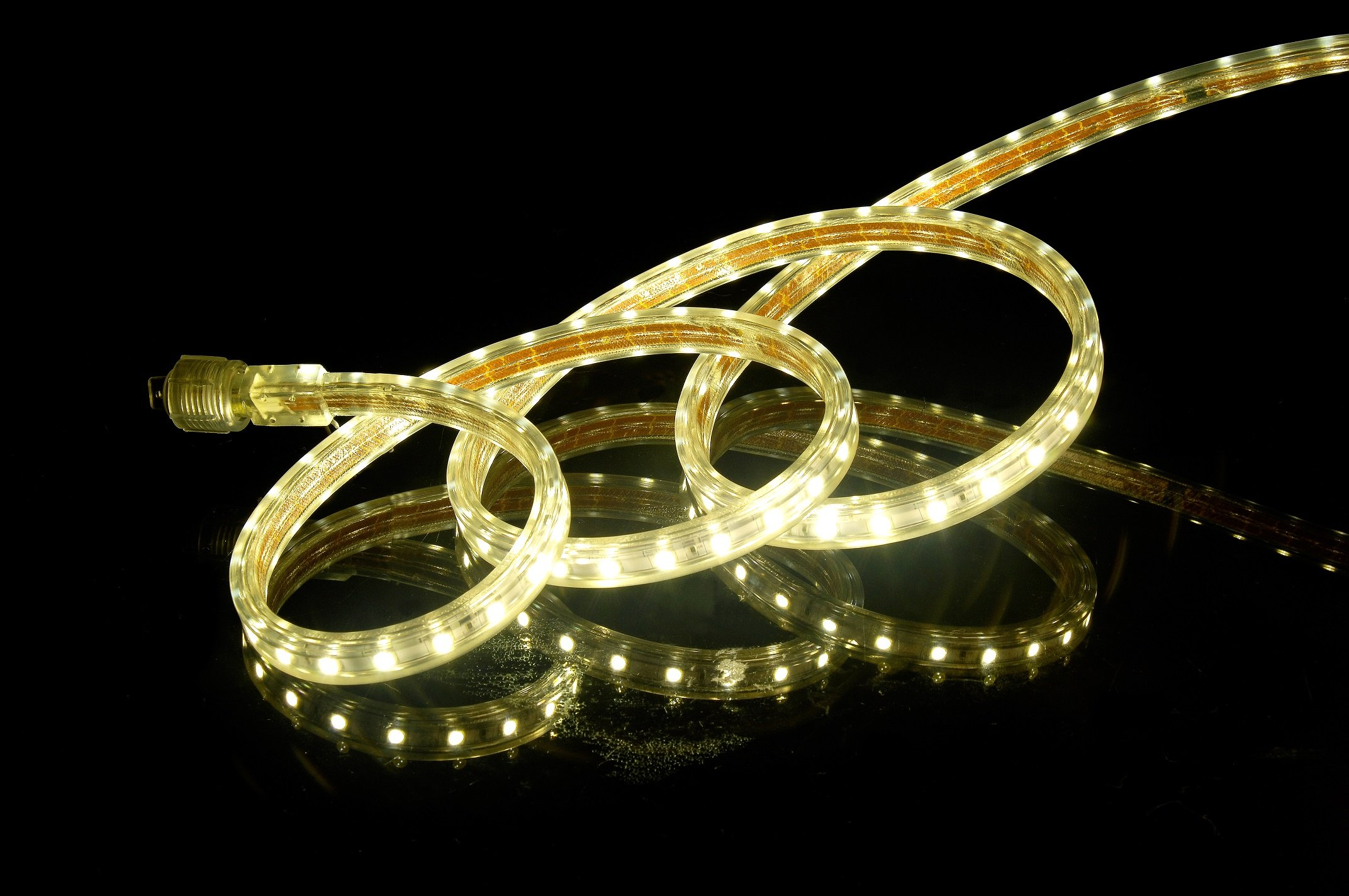 CBConcept UL Listed, 30 Feet, Super Bright 8100 Lumen, 3000K Warm White, Dimmable, 110-120V AC Flexible Flat LED Strip Rope Light, 540 Units 5050 SMD LEDs, Indoor/Outdoor Use, [Ready to use]