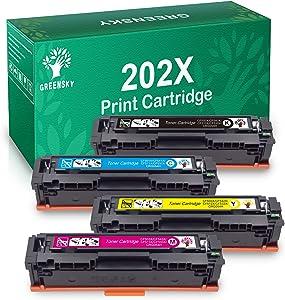 GREENSKY Compatible Toner Cartridges Replacement for HP 202X CF500X CF501X CF502X CF503X for HP Color Laserjet Pro MFP M281fdw M281fdn M281cdw M280nw M254dw M254dn M254nw Priner (BCMY, 4-Pack)