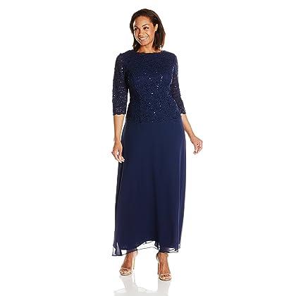 2107d187267e Alex Evenings Women's Plus Size Tea-Length Lace Mock Dress, Long Navy, 18W
