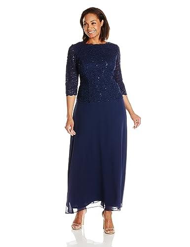 Alex Evenings Women's Plus-Size Mock Dress with Sequin-Lace Bodice