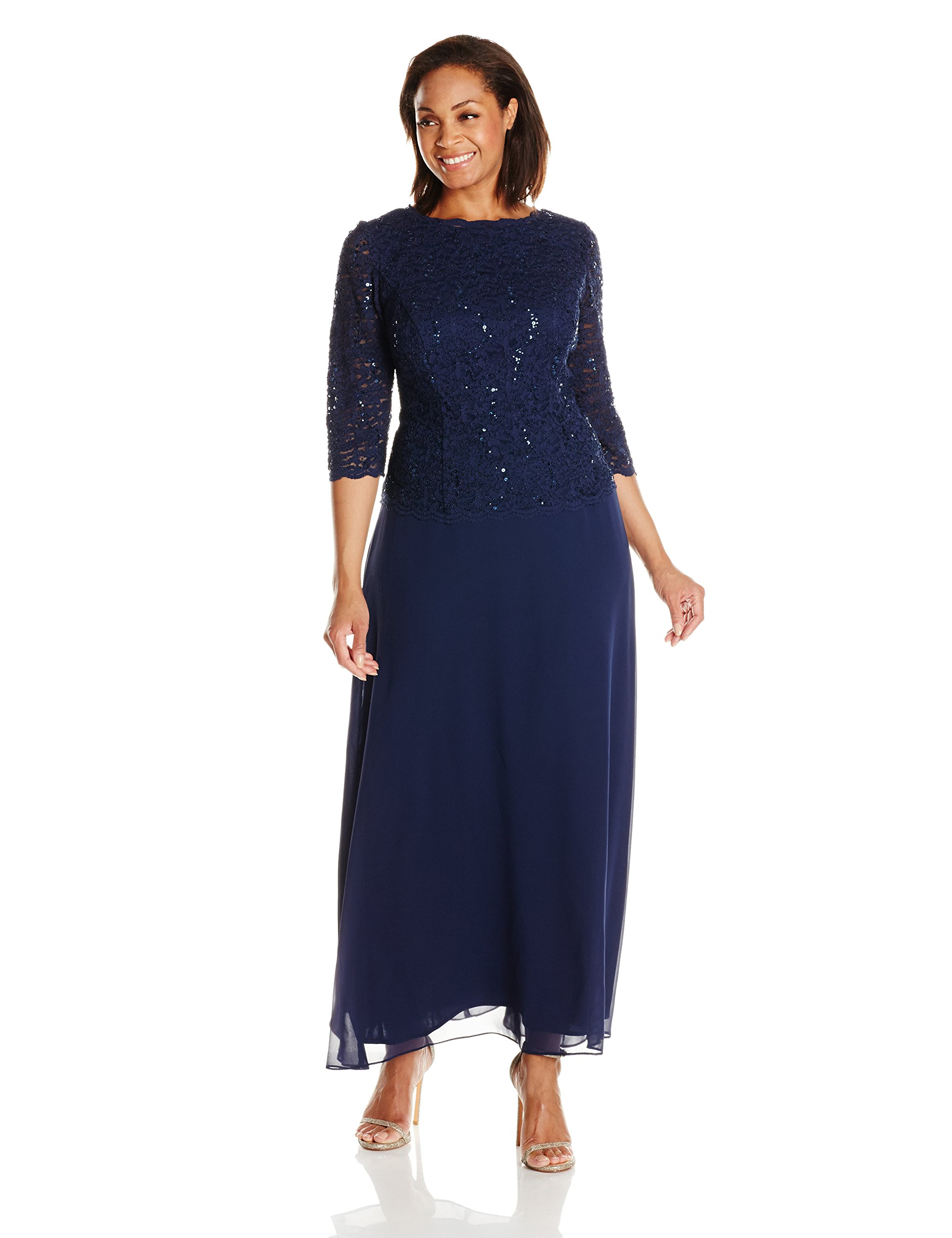 Alex Evenings Women's Plus-Size Mock Sequin Lace Bodice and Illusion Dress, Navy, 20W