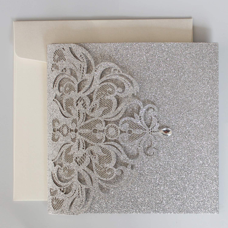 Amazon.com: 50Pcs Picky Bride Silver Glitter Wedding Invitations Pocket Wedding  Invites Luxury Wedding Cards - Set of 50pcs: Health & Personal Care