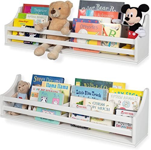 Childrens Wood Wall Mounted Floating Shelf 30 Bookcase
